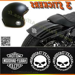 3 stickers autocollant harley davidson skull iron moto casqu