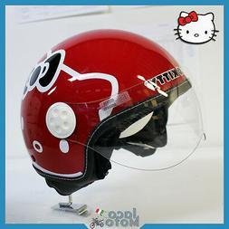 Casque Hello Kitty Femme Lady Moto Scooter Jet Helmet Rouge