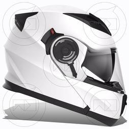Casque Moduler Mono Blanc Moto Scooter Approuvé Ece Double