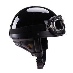 Demi-casque de moto de style allemand avec lunettes pour bik