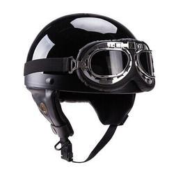 Demi-casque de moto de Style allemand rétro avec lunettes p