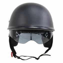 demi casque DOT  biker noir mat avec visière pare-soleil