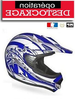 casque moto cross quad bleu blanc taille